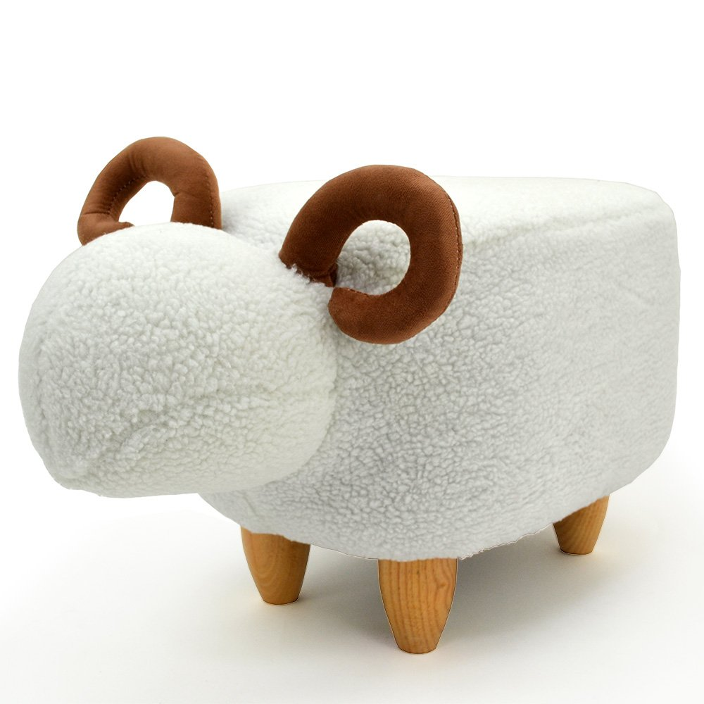 Modern Home Soft Plush Ride-On Stool/Ottoman - Woolly Sheep