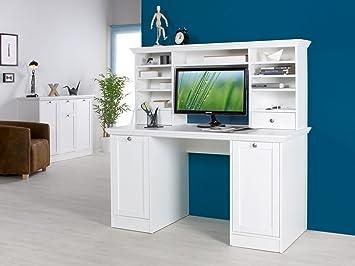 Schreibtisch Aufsatzregal schreibtisch mit aufsatz bürotisch computertisch arbeitstisch weiß