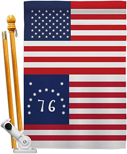 Amazon Com Historic Us Bennington House Flag Set Patriotic July Memorial Veteran Independence United State American Small Decorative Gift Yard Banner Made In Usa 28 X 40 Garden Outdoor