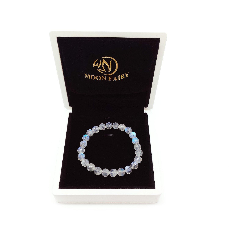 MOON FAIRY Moonstone Beaded Bracelet : Blueshine - Stretchable Beads Handmade with 7mm Precious Natural Sri Lankan Blue Moonstone Gemstones