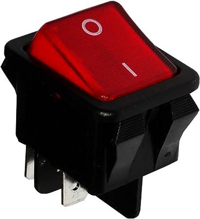 AERZETIX: Interruptor conmutador basculantes de boton DPST ON-OFF 16A/250V, 2 posiciones, Rojo C10799