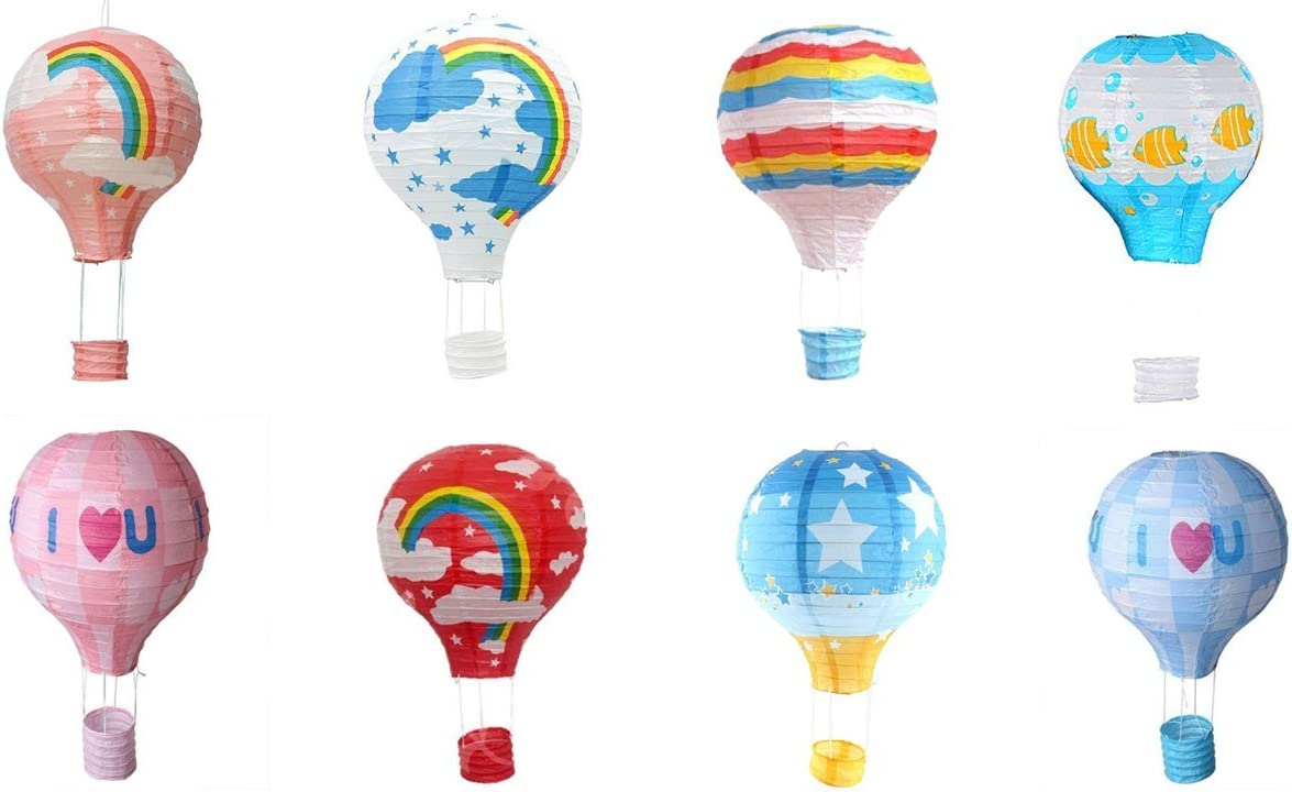 Matissa Pack of 8 Hot Air Balloon Paper Lantern Wedding Party Decoration Craft Lamp Shade 16 40 cm