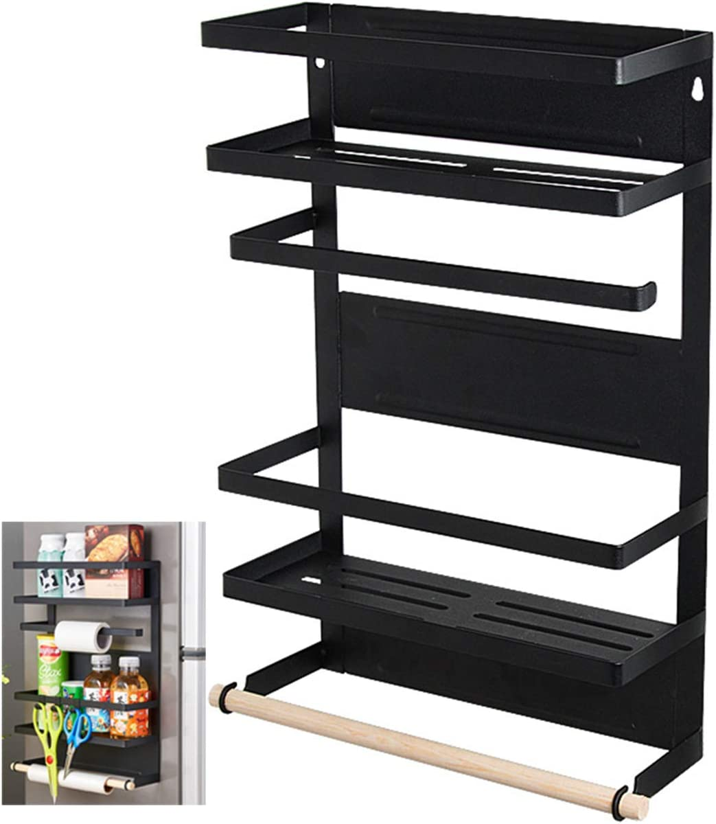 Magnetic Rack Refrigerator-Organizer Rustproof Spice Rack Storage (Black)