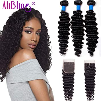 Brazilian Deep Wave with Closure 3 Bundles with Closure 8A Human Hair with  Closure Natural Colour(10 12 14+8)