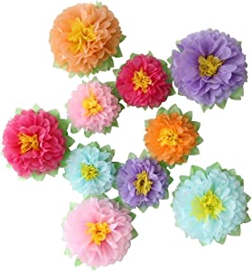 Mybbshower Colorful Fiesta Paper Flowers (9''-7'' Assorted) Set of 10 Outdoor Decoration Kids Birthday Carnival Rainbow Theme Party Backdrop Photo Booth Wall Decor
