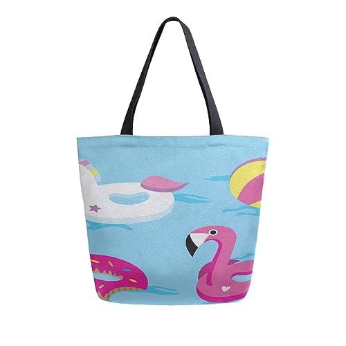 Unicornio brillante o flamencos flotan en la piscina Bolsas ...