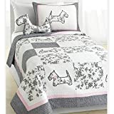 Scottie Pup Dog Theme Cotton Kid Bedding Set, Grey White, 3-piece Full/Queen by Cozy Line Home Fashions