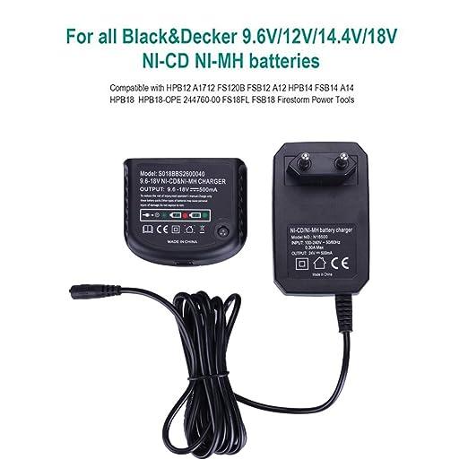 Cargador de batería Ni-MH / Ni-Cd para Black & Decker Drill 9.6V 12V 14.4V 18V Ni-MH / Ni-Cd Batteries
