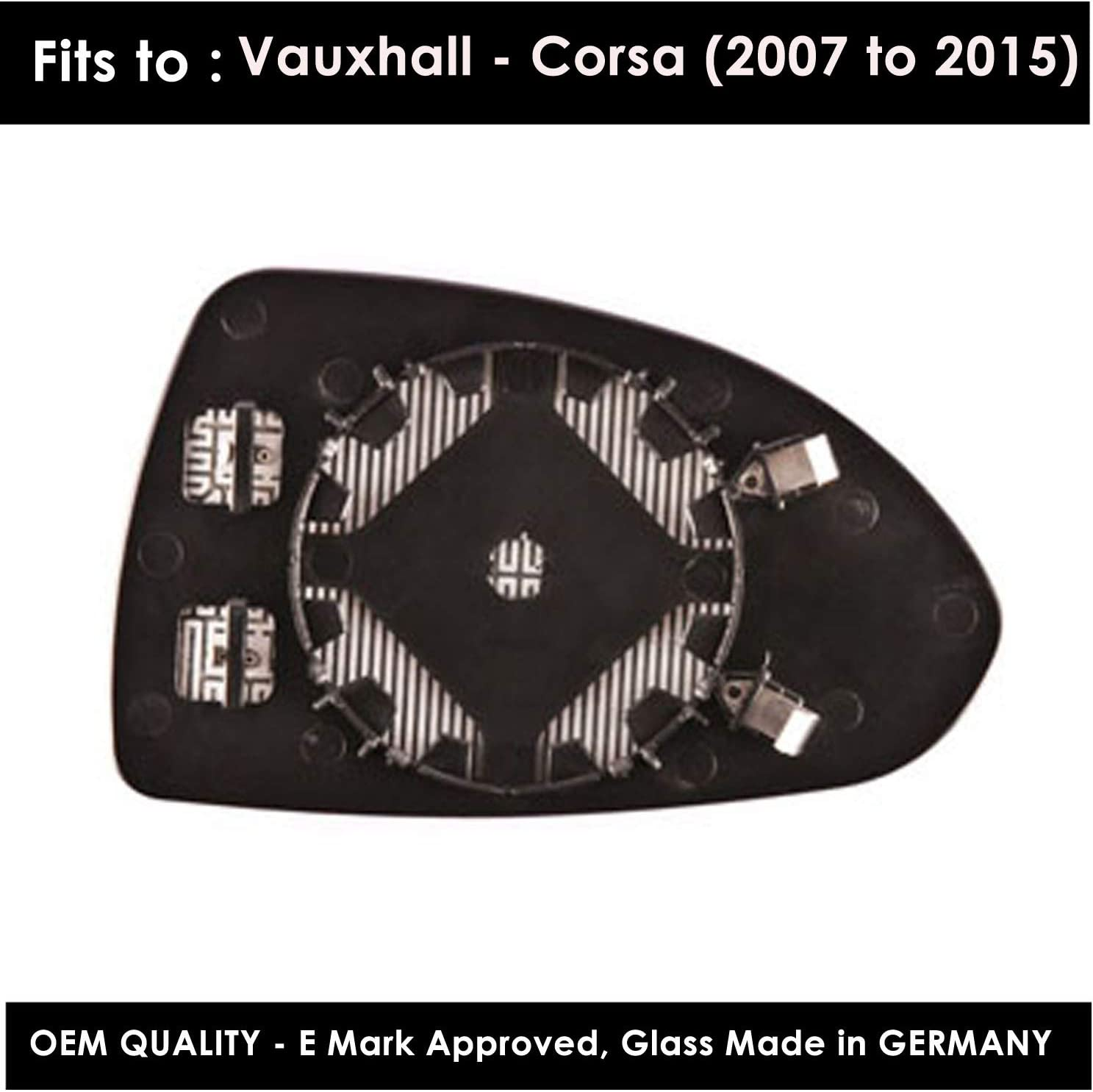 Wing Mirror s Including Base Plate LH Silver Door Passenger Side Corsa 2007,2008,2009,2010,2011,2012,2013 Heated