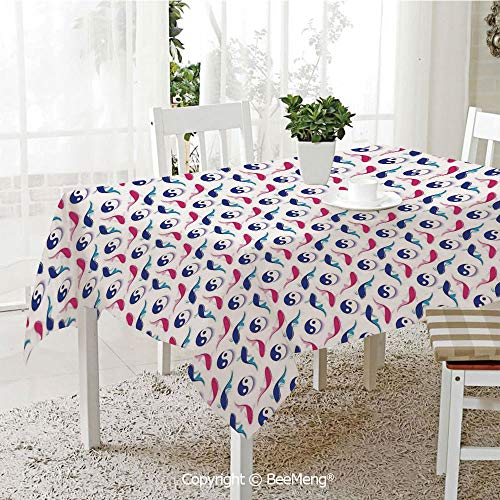 (BeeMeng Spring and Easter Dinner Tablecloth,Kitchen Table Decoration,Yin Yang Sign Art Decor,Fish Japanese Art Illustration Balance Symbol,59 x 83 inches)