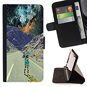 - Nebula Space Best Love - - Style PU Leather Case Wallet Flip Stand Flap Closure Cover FOR HTC One M7 - Devil Case -