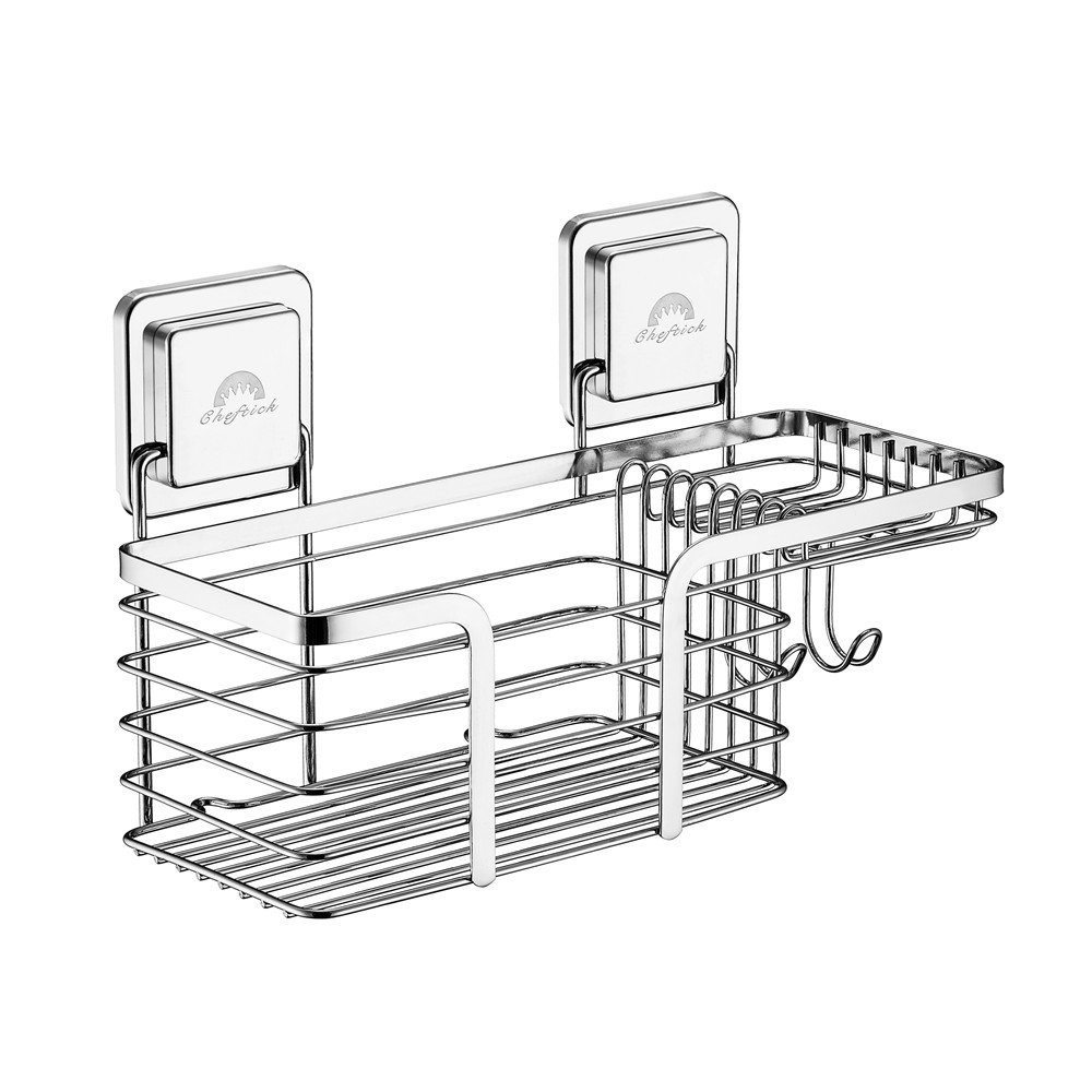 Cheftick Shower Caddy Basket for Shampoo Stainless Steel Combo Organizer Basket with Soap Holder and Razor Holder, Features Powerful Magic Sticker Easy Install & Reusable, Guaranteed Not to Fall