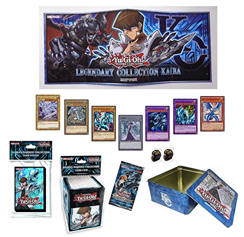 Yugioh Kaiba Blue Eyes White Dragon Bundle w/ BigNCollectibles Dice (Gameboard, Deck Box, Sleeves, Tin) by Yu-Gi-Oh!