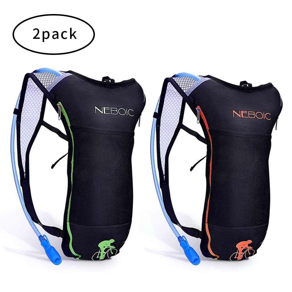 Neboic 2Pack Hydration Backpack Pack with 2L Hydration Bladder - Lightweight Water Backpack Keeps Water Cool up to 4 Hours with Big Storage for Kids Women Men Hiking Cycling Camping Music Festival by Neboic