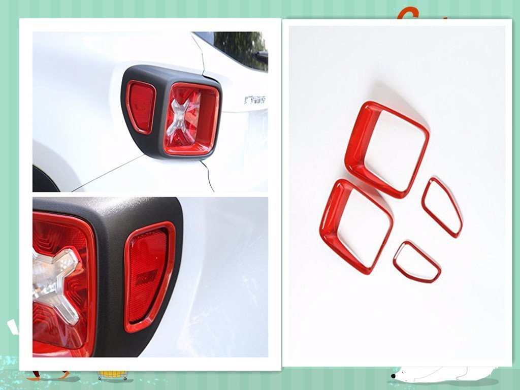 fmtoppeak 3色ABS 4pcs車テールライトガードリアランプトリムカバーリングコンセントExterior for Jeep Renegade 2015 Up レッド AC-021210 B073PZ3KW4  レッド