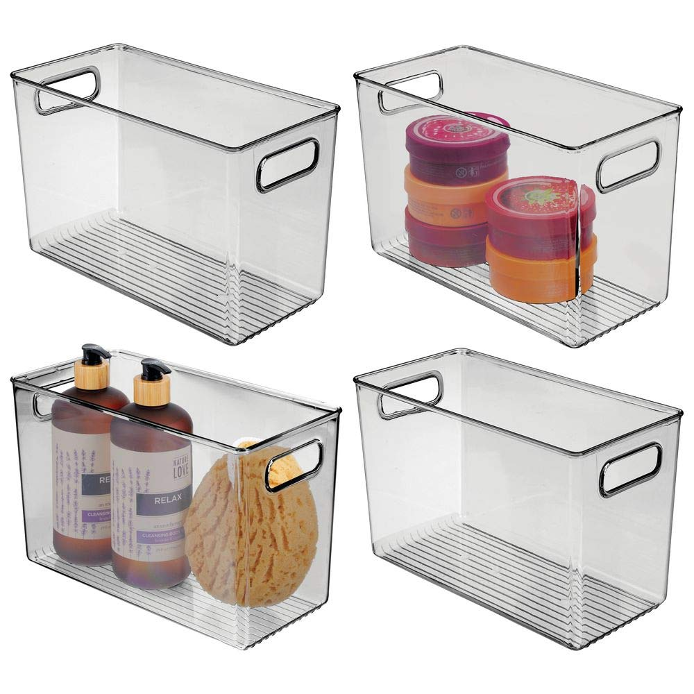 mDesign Slim Plastic Storage Container Bin Box with Carrying Handles - Bathroom Cabinet Organizer for Toiletries, Makeup, Shampoo, Conditioner, Face Scrubbers, Loofahs, Bath Salts, 4 Pack - Smoke Gray