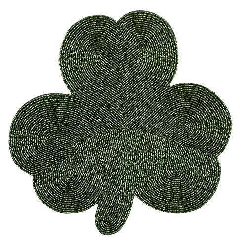 Northeast Home Goods St Patrick's Day Green Shamrock Beaded Placemat ()