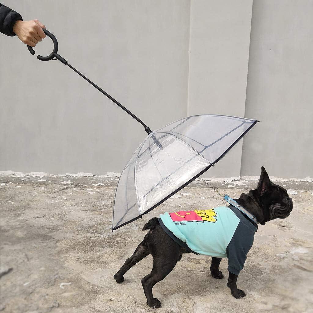 Paraguas port/átil Transparente para Mascotas con Correa de tracci/ón Tipo de ensamblaje Paraguas para Perros y Gatos Perros y Amantes de Las Mascotas Transparente