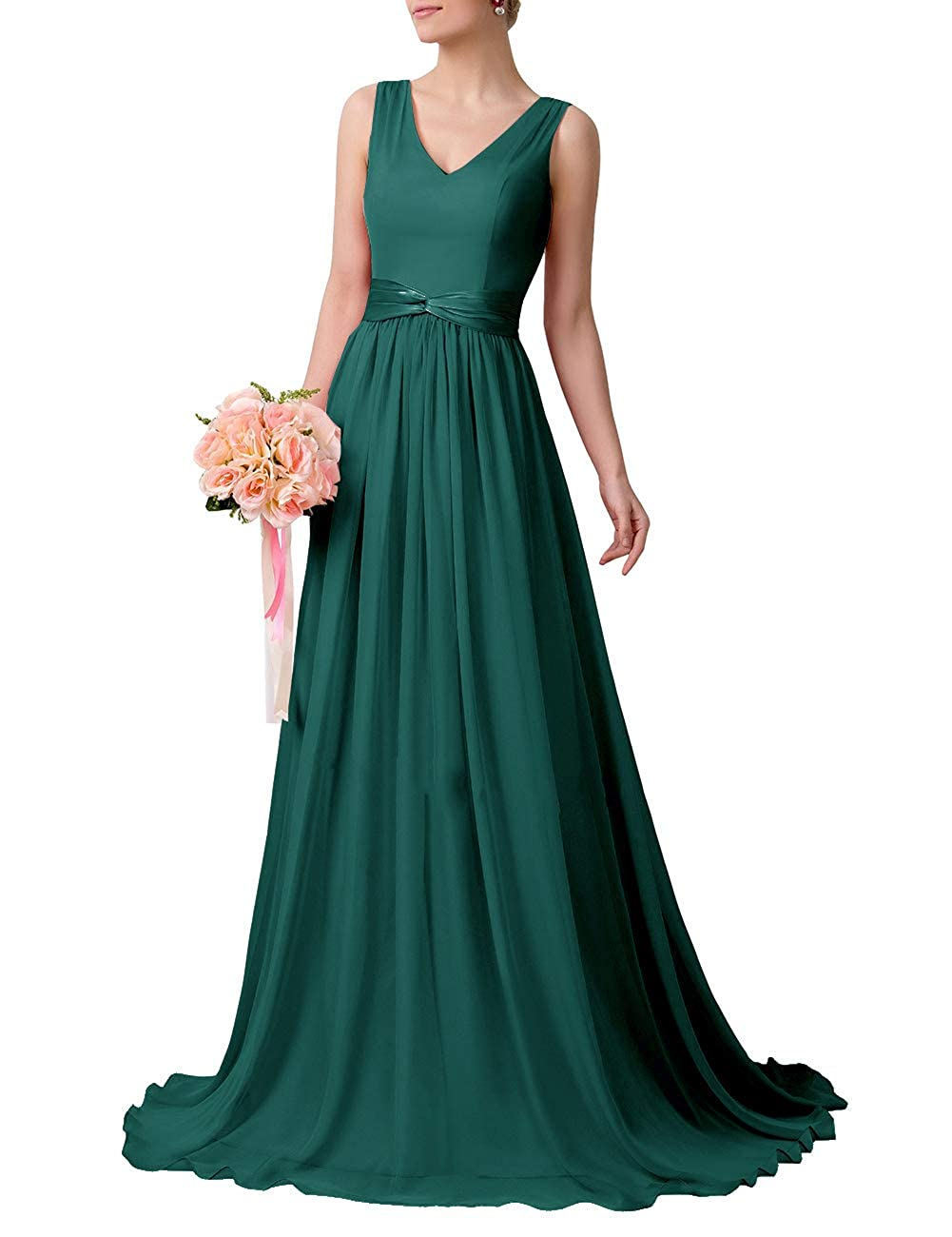 Uther V-Neck Floor-Length Bridesmaid Dress with Sash Chiffon Wedding Party Gowns
