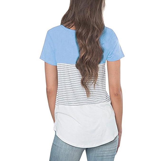 Mujer Casual Blusa y Camisa Manga Corta Cosiendo Rayas Suelto Polyester Ajustado Tops Camisas O-Cuello Top Camiseta Elegantes Verano Oficina T-Shirt Otoño ...