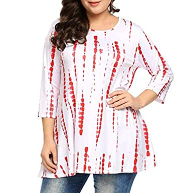 4c655280292fc Women Plus Size Shirts 3 4 Sleeve Printed O-Neck Tunic Top Loose Blouse