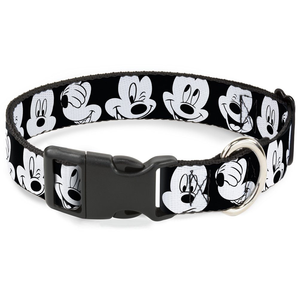 Buckle-Down Breakaway Cat Collar - Mickey Mouse Expressions CLOSE-UP Black/White - 1/2'' Wide - Fits 8-12'' Neck - Medium