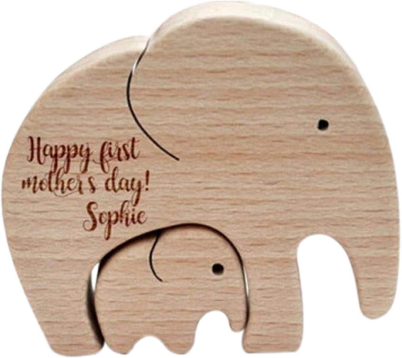 huiyingshe Adorno de Figuras de Elefante, decoración de Madera para Escritorio, Madre Elefante y Ternera, Madera de Regalo Artesanal de Madera para el día de la Madre