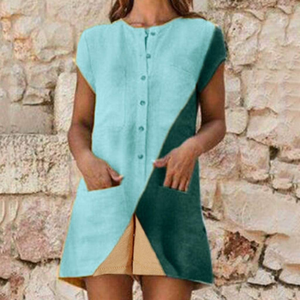 Womens Casual Loose Short Sleeve Jumpsuits Button Down Color-Block Rompers Wide Leg Shorts Lightwight Breathable Summer Lounge Beach Playsuit with Pockets
