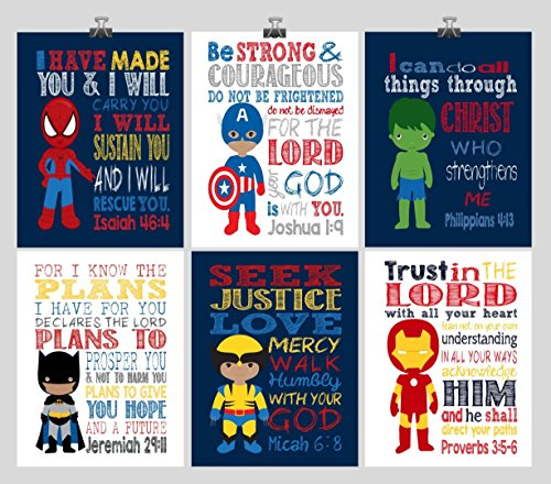African American Christian Superhero Nursery Wall Art Set of 6 Prints- Christian Wall Art Print - Captain America, Ironman, Hulk, Batman, Wolverine, Spiderman - Multiple Sizes