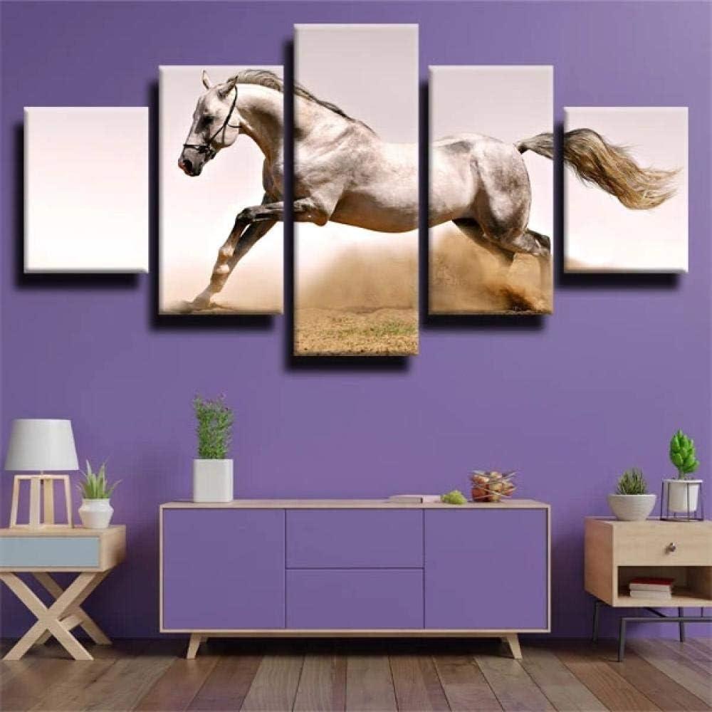IIIUHU 5 Piezas Cuadro sobre Lienzo De Fotos Caballo Corriendo rápido Lienzo Impresión Cuadros Decoracion Salon Grandes Cuadros para Dormitorios Modernos Mural Pared Listo para Colgar