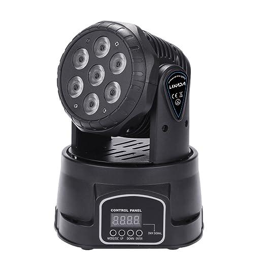 10 opinioni per Lixada 7LED 105W RGBW 9/14 Canali DMX512 Mini Rotante a Testa Mobile Fase