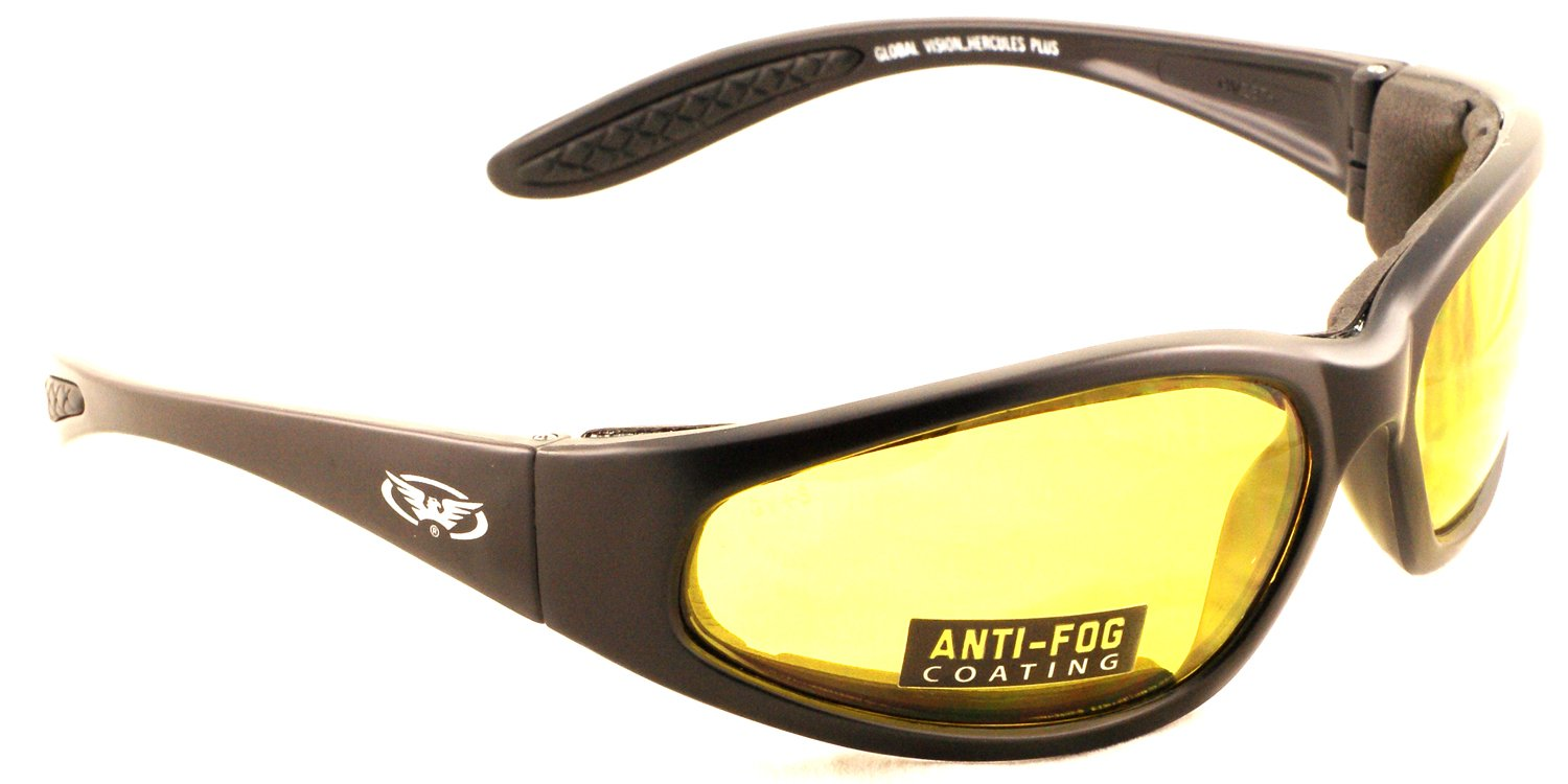 Yellow tinted motorcycle wraparound sunglasses with E.V.A foam lining and shatterproof anti fog lenses complete with free microfibre storage pouch. Global Vision