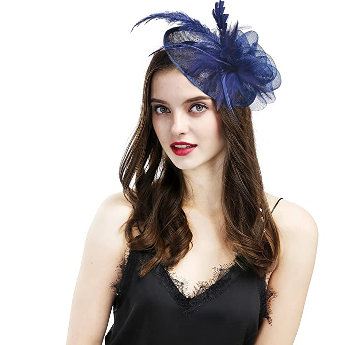97a78b3a2d97e Fascinators Hat Flower Mesh Ribbons Feathers on a Headband Penny Mesh Hat  Fascinator with Mesh Ribbons