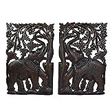 AeraVida Leisurely Couple Elephant Hand Carved Wood Wall Art Panel Set