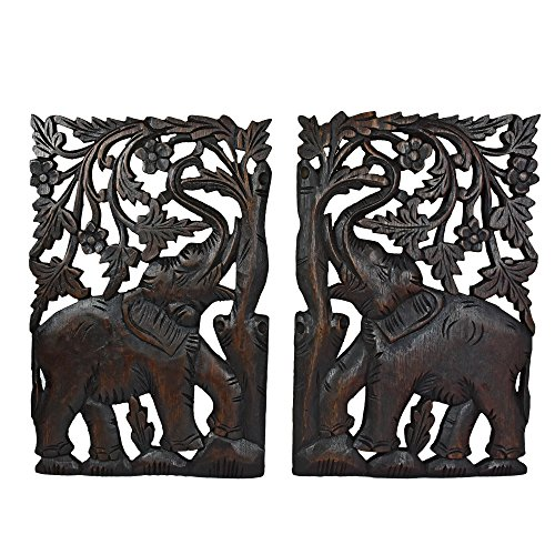 AeraVida Leisurely Couple Elephant Hand Carved Wood Wall Art Panel -