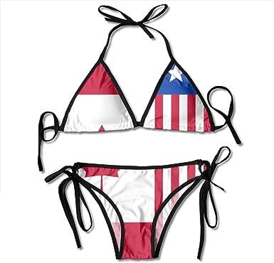 Bikinis, América México Canadá Bandera Trajes de baño Bikini Triangular con Corbata Lateral para Mujer Trajes de baño: Amazon.es: Ropa y accesorios