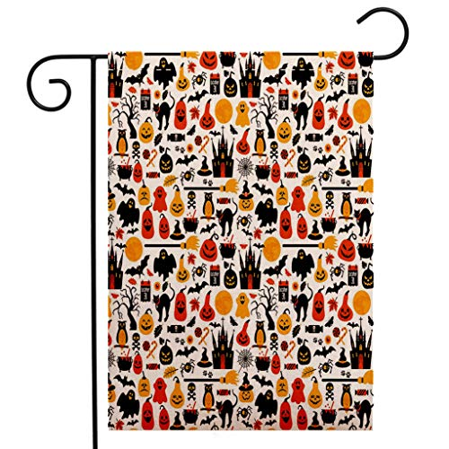 Philadelphia Halloween October 31 (Custom Double Sided Seasonal Garden Flag Halloween Halloween Icons Collection Candies Owls Castles Ghosts October 31 Theme Decorative Garden Flag Waterproof for Party Holiday Home Garden)