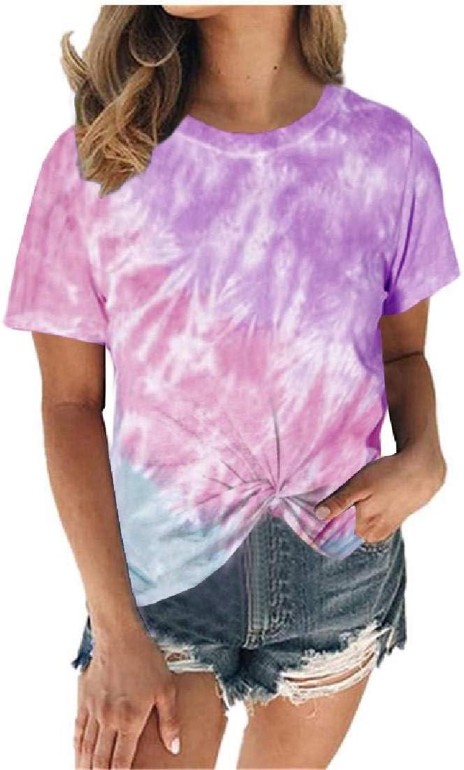 GUOCAI Women Twist Knot Tops Crewneck Front Tie Dye Print Short Sleeve Blouse T Shirts
