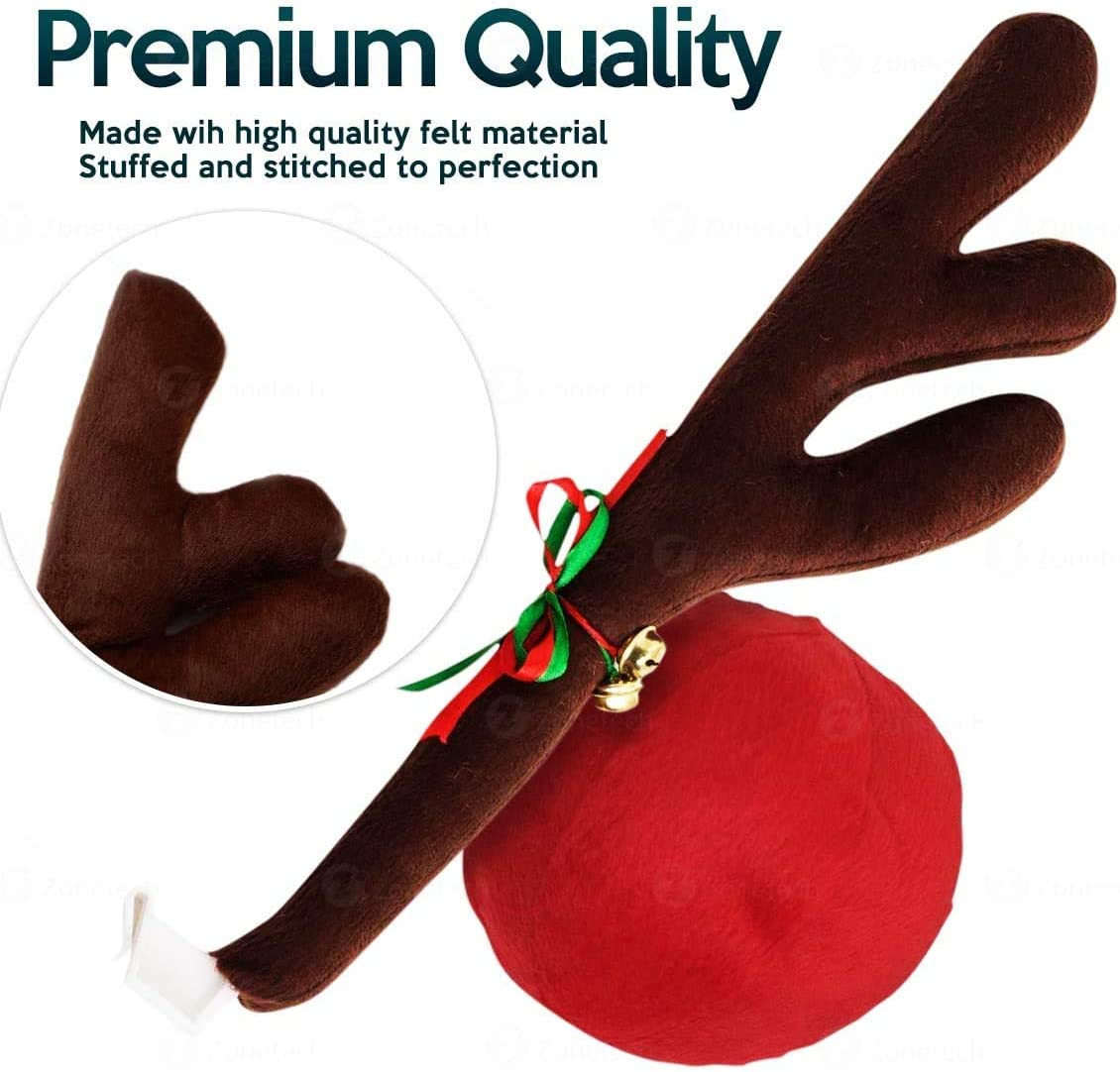 Zone Tech Christmas Car Reindeer Antlers and Nose Set Premium Quality Window Roof-Top and Grille Rudolph Car Accessory Jingle Bell Antlers and Nose Car Costume Decoration Set for Holiday