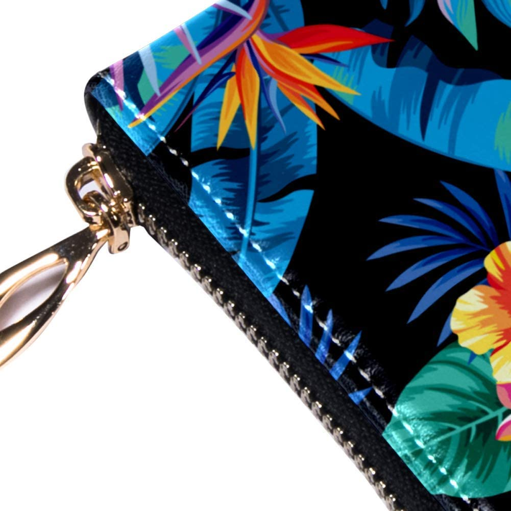 Womens Zip Around Wallet and Phone Clutch,Travel Purse Leather Clutch Bag Card Holder Organizer Wristlets Wallets,Tropical Fruits Palm Leaves And Flowers