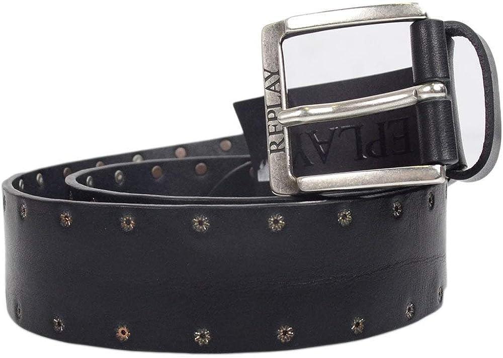 Replay Cinturón de cuero tachonado negro