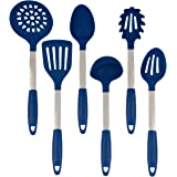 Culinary Couture Stainless Steel and Silicone Cooking Utensil Set with Ebook - Blue