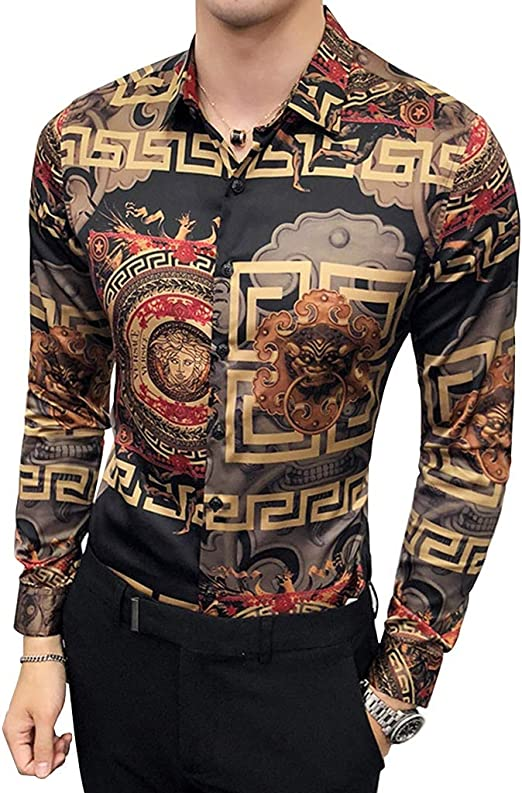 Camisa De Hombre Manga Larga De Corte Formal. Botón Geométrico Con Estampado Tribal Solapas De Cierre