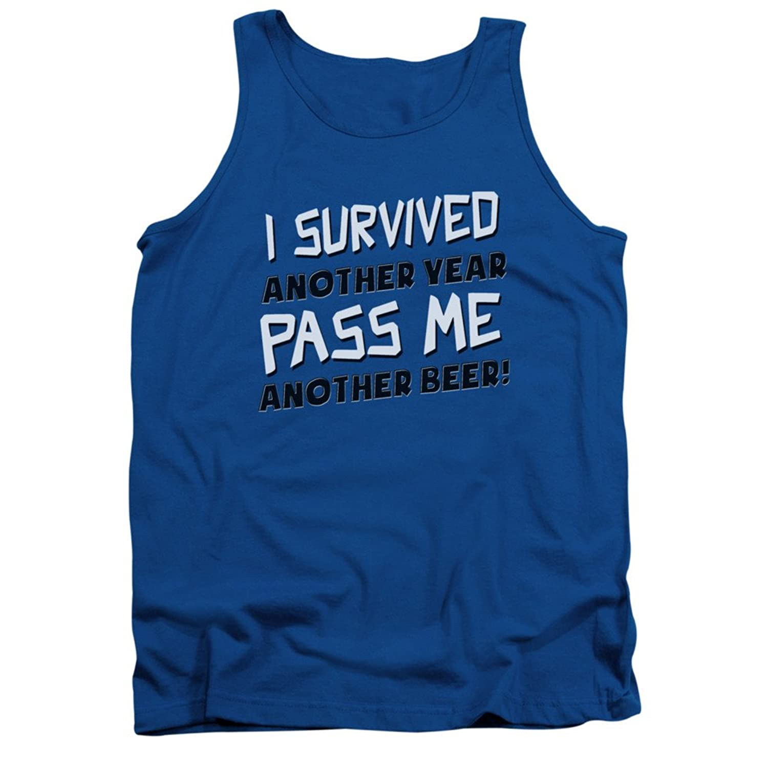 I Survived Another Year Pass Me Another Beer Funny Adult Tank Top Shirt