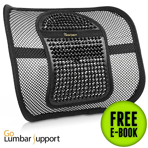 Lumbar Support Chair Cushion [UPGRADE VERSION] for Office Car Seat Home Desk - Recommended by Chiropractor Dr. Jose Guevara for Therapeutic Lower Back Pain Fatigue Relief - eBook Included