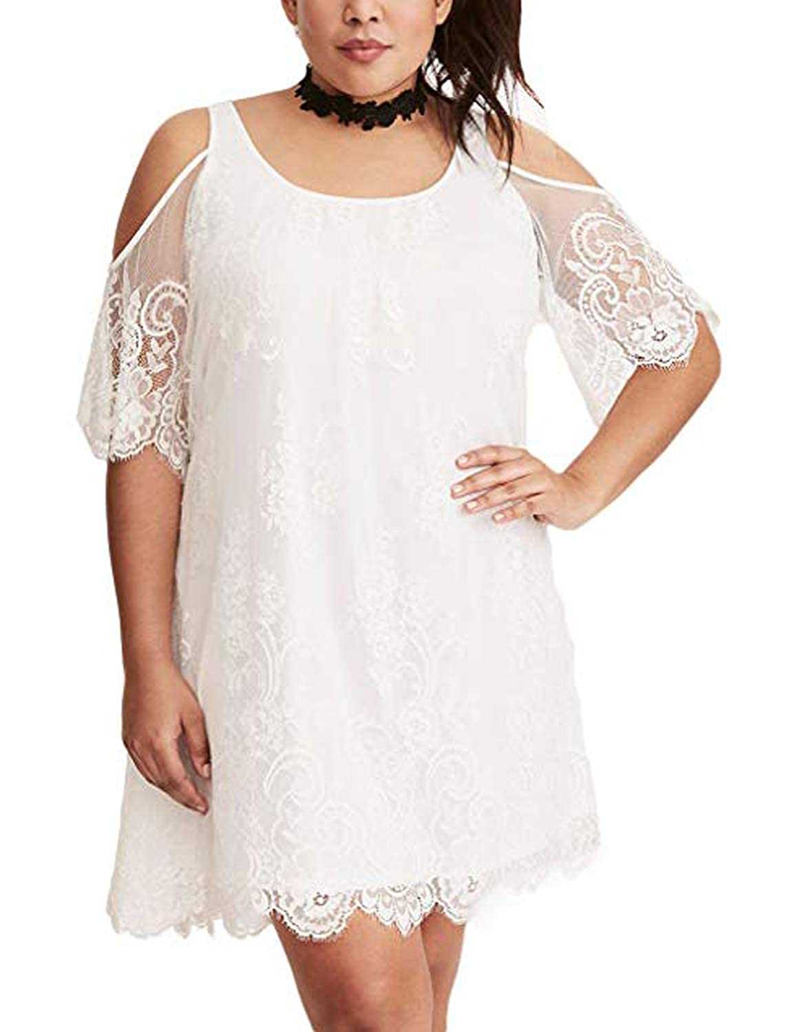 5b260caba3d The plus size dresses feature elegant lace fabric, flutter sleeves, scoop  neck and sexy cold shoulder that can reveal hints of skin
