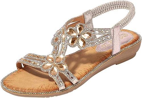 US4-9 Ladies Roman Rhinestone Buckle Strap Low Heel Summer Sandals Bling Bling