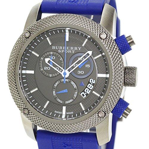 Burberry Sport Chronograph Grey Dial Blue Rubber Mens Watch BU7714
