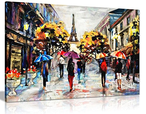 Modern Oil Painting Colourful Paris Canvas Wall Art Picture Print (24x16)