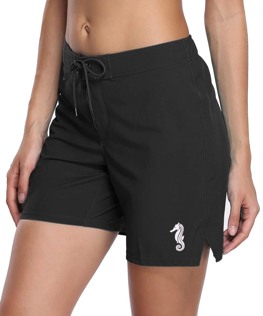 V for City Women's Black Board Shorts Stretch Swim Tankini Bottoms Swimsuit Boardshorts 3XL